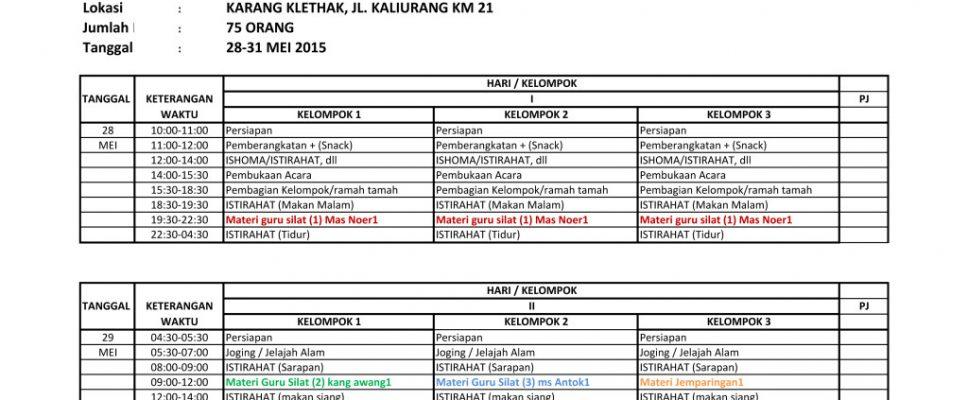 Jadwal Wisata Pencak Nusantara