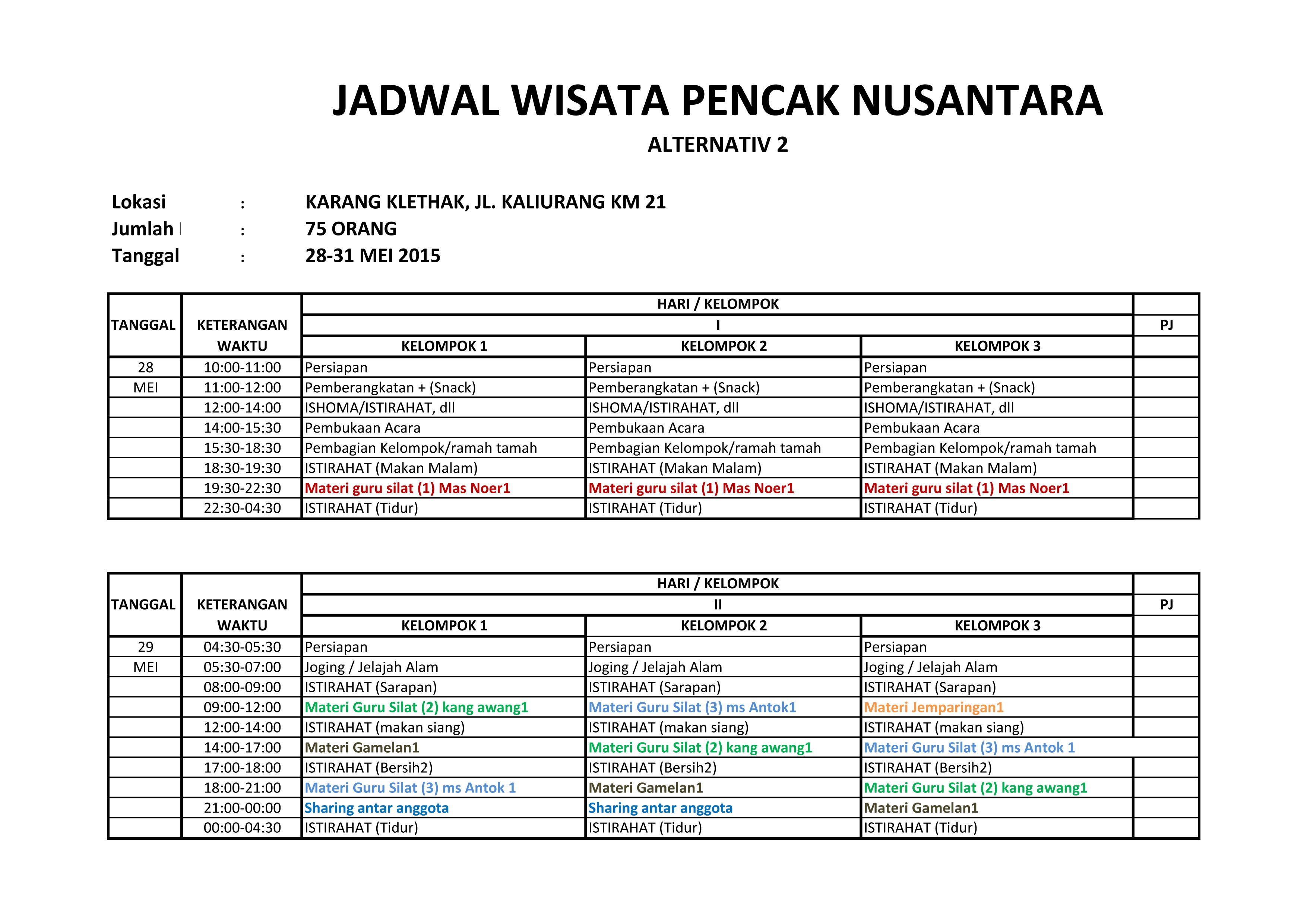 Jadwal WIsata Pencak Nusantara hlm 1